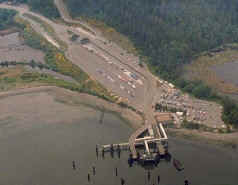 Air view of Anacortes ferry terminal