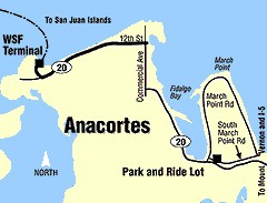Map showing route from I-5 to Anacortes Ferry Terminal