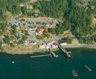 Air view of Orcas ferry terminal